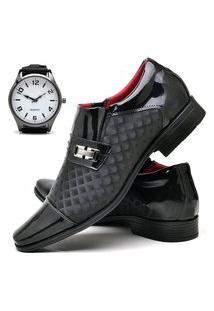 Sapato Social Masculino Asgard Com Relógio New Db 829Lbm Preto