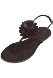 Rasteira Mercedita Shoes Verniz Flor Feminina - Feminino-Marrom