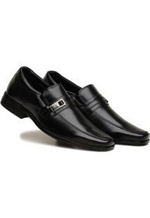 Sapato Social Masculino Elástico Metal Leve Confortável - Masculino-Preto