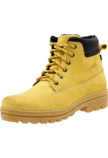 Bota Atron Shoes Adventure Ride Work Em Couro Amarelo - Kanui