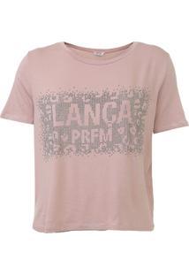 Camiseta Lança Perfume Aplicações Rosa