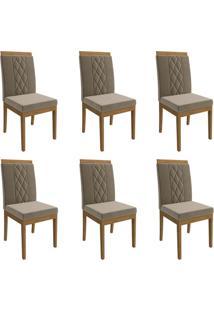 Conjunto Com 6 Cadeiras De Jantar Alice Suede Madeira E Joli