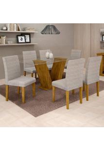 Conjunto De Mesa De Jantar Com 6 Cadeiras Classic Suede Ypê E Cinza