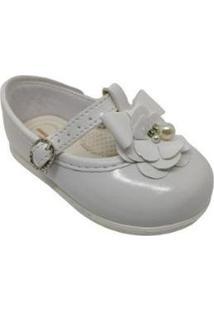 Sapato Infantil Pimpolho Flor Feminino - Feminino-Branco