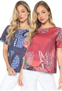 Camiseta Forum Dupla Face Estampada Azul/Vermelha