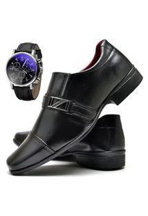 Sapato Social Masculino Com E Sem Verniz Asgard Com Relógio Db 820Lbm Preto