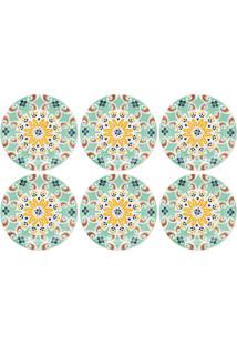 Conjunto 6 Pratos Para Sobremesa 20Cm Oxford Floreal Solar