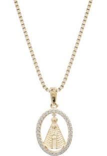 Corrente Em Prata Rvt Venez Com Aparecida Convex Jóias - Feminino-Dourado