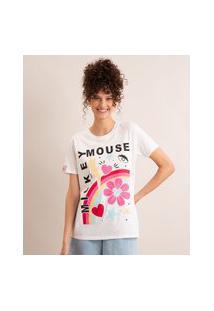 Camiseta De Algodão Mickey Mouse Manga Curta Decote Redondo Off White