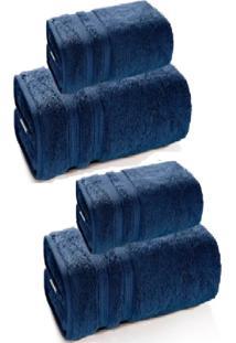 Jogo De Banho 4 Peã§As Unika Gigante Azul Marinho Karsten - Multicolorido - Dafiti