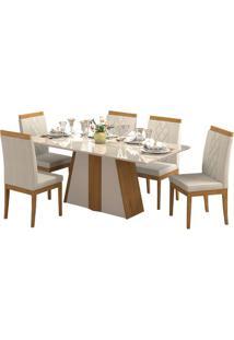 Sala De Jantar Daiana 180Cm Com 6 Cadeiras Madeira/Off White Aspen