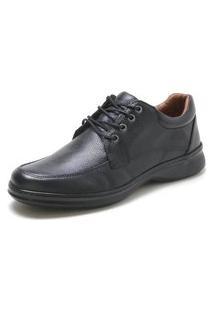 Sapato Social Preto Em Couro Conforto 3015