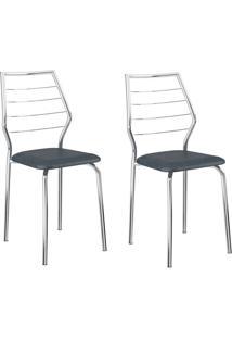 Kit 2 Cadeiras 1716 Jeans/Cromado - Carraro Móveis