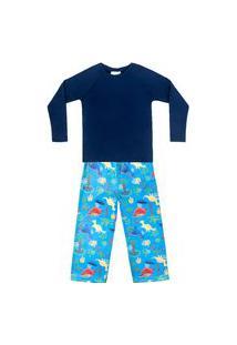 Pijama Bebê Moletinho C/ Tecnologia Thermo Dry Dino Azul Everly
