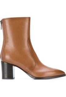 Santoni Ankle Boot Com Salto Contrastante - Marrom