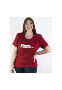 Camiseta Anjuss Plus Size Bordô