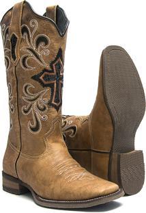 Bota Texana Feminina - Fossil Caramelo   Bucho Preto Com Glitter Prata -  Roper - Bico cdff69298de