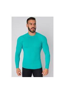 Camisa Bella Fiore Modas Térmica Poliamida Uv Segunda Pele Verde Água