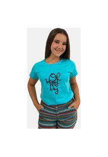 "T-Shirt Camiseta Feminina ""Oh Happy Day"""" Manga Curta Azul"""