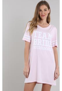 Camisola Feminina Team Bride Manga Curta Decote V Rosa Claro