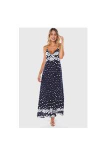 Vestido Longo Estampado Floral E Bolinhas Viscose Sob Azul Marinho