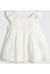 Vestido Gap Infantil Renda Off-White