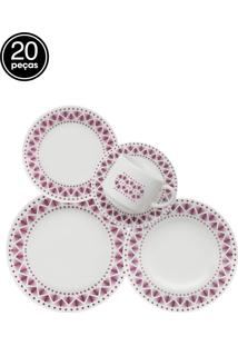 Aparelho De Jantar E Chá Oxford Cerâmica Donna Maia 20Pçs Branco/Roxo