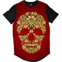 Camiseta Bsc Longline Caveira De Flores Masculina - Masculino-Vermelho cbd85163732