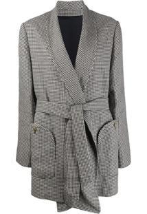 Blazé Milano Belted Houndstooth Pattern Jacket - Preto
