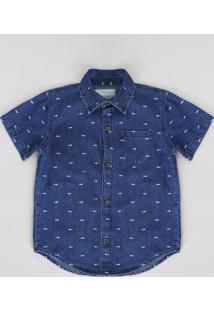 Camisa Jeans Infantil Estampada Mini Print De Espinha De Peixe Com Bolso Manga Curta Azul Escuro
