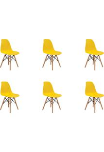 Kit 06 Cadeiras Eiffel S/ Braço Amarela Rivatti