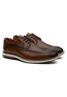 Sapato Social Masculino Couro Bico Redondo Cadarço Conforto Caramelo