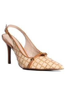 Sapato Feminino Tressê Luz Da Lua Bico Folha Em Couro Marrom