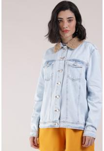 Jaqueta Jeans Feminina Com Pelo Removível Azul Claro
