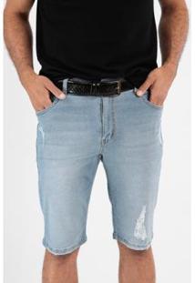 Bermuda Jeans Slim Lavada 5 Bolsos Masculina - Masculino-Azul Claro