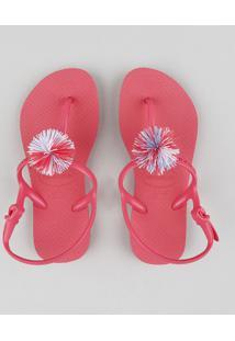 Rasteira Infantil Havaianas Com Pompom Rosa