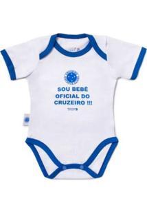 """Body Reve D'Or Sport \""""Sou Bebê Oficial\"""" Cruzeiro Branca E Azul"""