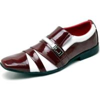 4d29d5cae Sapato Social Top Franca Shoes Verniz Masculino - Masculino-Vermelho+Branco