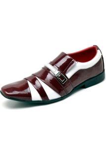 Sapato Social Top Franca Shoes Verniz Masculino - Masculino-Vermelho+Branco