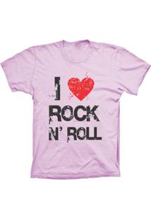 Camiseta Baby Look Lu Geek I Love Rock Rosa