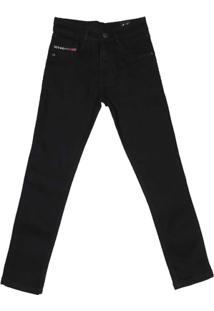 Calça Jeans Juvenil Para Menino Golpe Fatal Preto - Masculino-Preto
