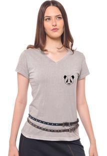 Camiseta Feminina Joss Estampada F Panda Cinza