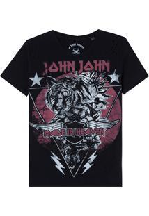 Camiseta John John Tiger Stars Malha Algodão Preto Feminina (Preto, Pp)