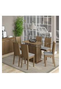 Conjunto Sala De Jantar Molly Madesa Mesa Tampo De Vidro Com 6 Cadeiras Tabaco/Pérola