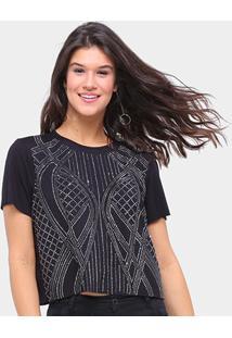Camiseta Triton Básica Com Aplicação Feminina - Feminino-Preto