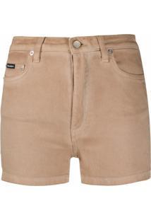Dolce & Gabbana Short Jeans Com Placa De Logo - Cinza