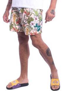 Bermuda Jota K Sintetica Floral Masculina - Masculino-Bege