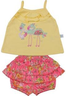 Conjunto Bebê Cotton E Cetim De Algodão Estampa - Feminino-Amarelo