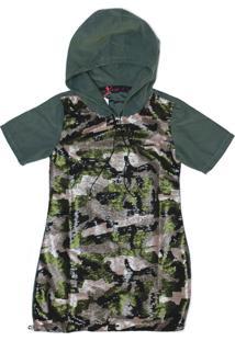 Vestido Pinkx Blusão Frente Em Paetê Camuflado E Regulador Na Barra Verde Militar