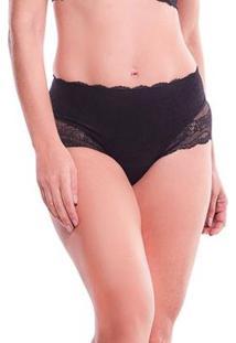 Calcinha Feminize Modeladora Cintura Alta Com Renda Mame - Feminino-Preto